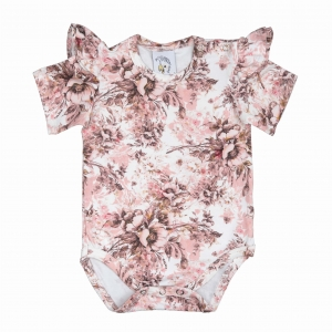 Body with flounces Romantic Floral short sleeve
